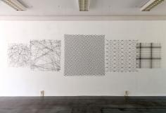 Gitternetz 1-5 2016, Stahldraht geschwärzt, 90 x 90 cm