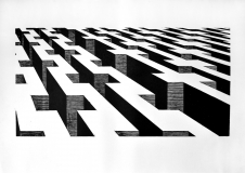 Grenze 2014, Holzschnitt, 60 x 42 cm